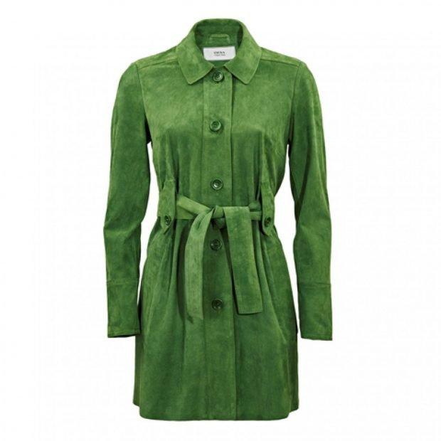 зеленый замшевый плащ