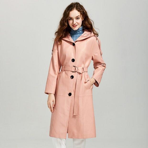 розовый модный кожаный