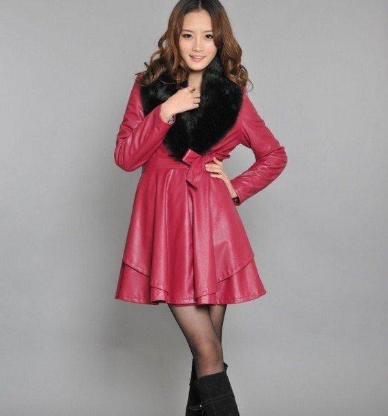 темно-розовый модный кожаный с мехом