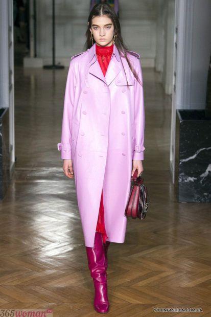 розовый модный кожаный плащ 2018 оверсайз