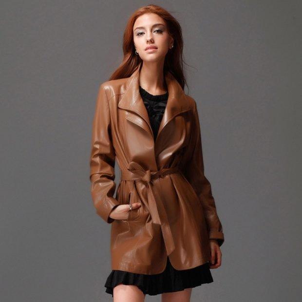 коричневый модный кожаный