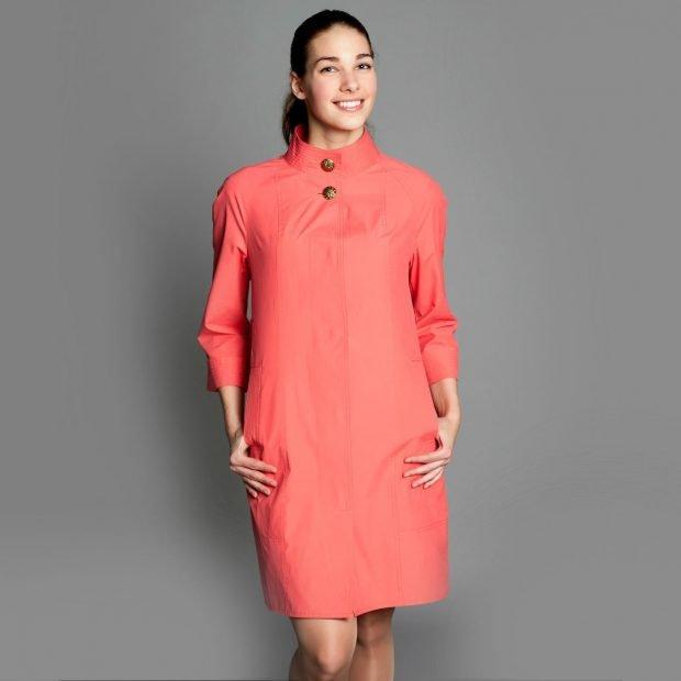 модные женские плащи весна лето 2019: коралловый прямой