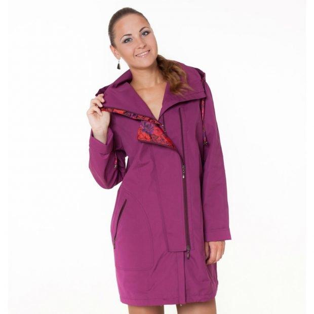 модные женские плащи весна лето 2021: фиолетовый длиной до колена