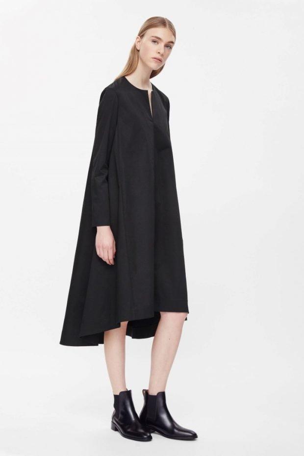 платья осень зима 2019 2020 фото: черное оверсайз