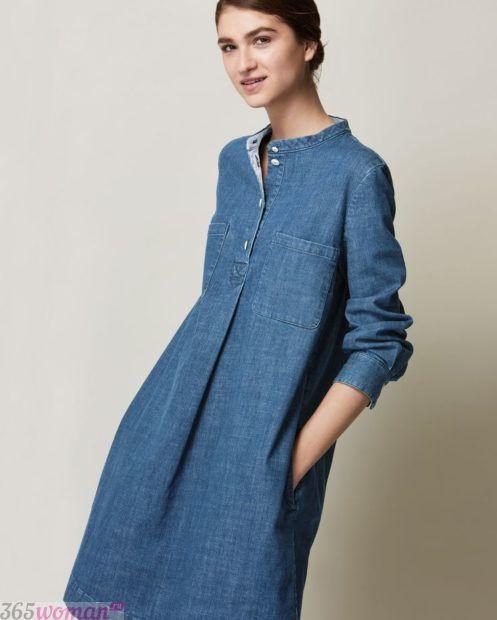 джинсовое платье средней длины