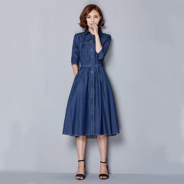 джинсовое платье-миди расклешенное