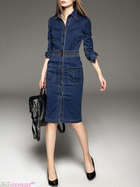 джинсовое платье-футляр