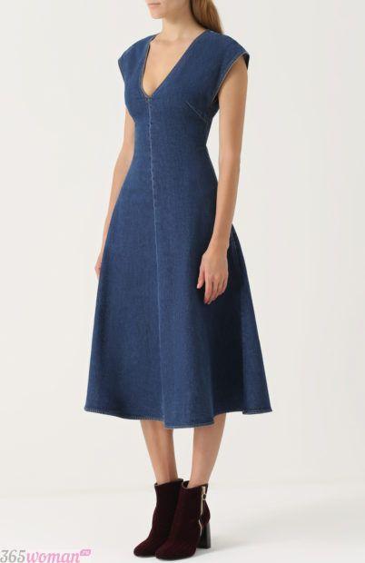 джинсовое платье-миди без рукавов