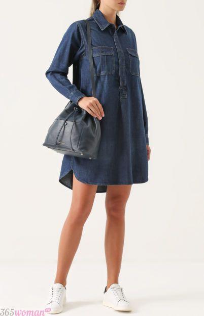 свободное джинсовое платье