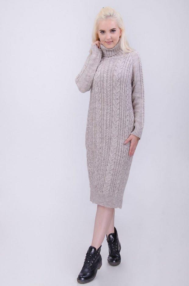 длинное вязаное