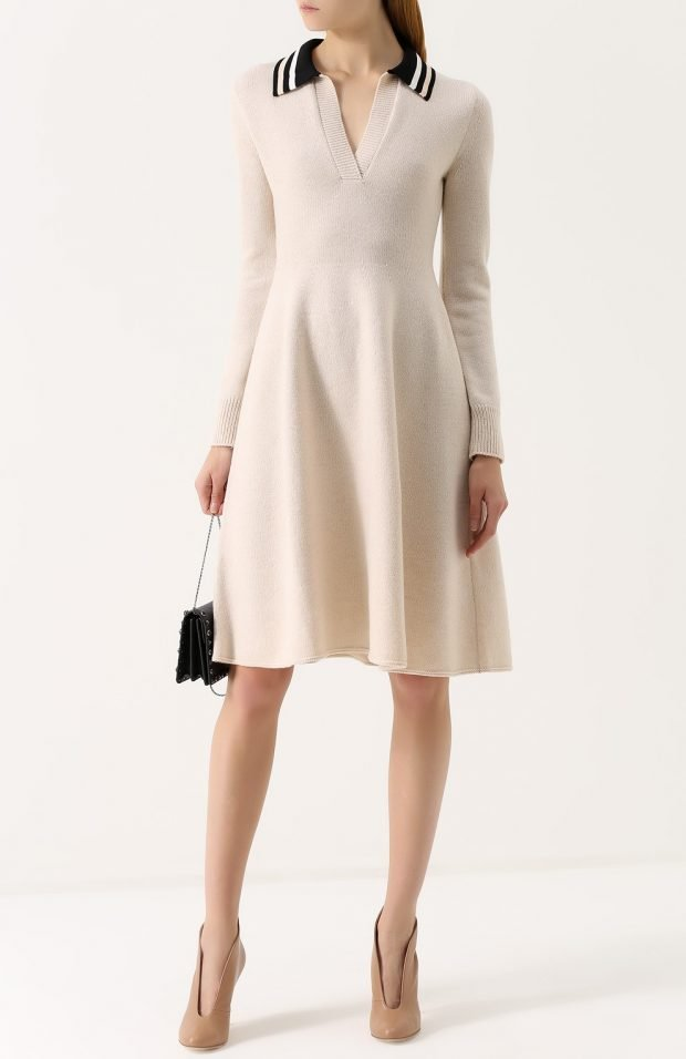 модные платья осень зима 2019 2020: светлое с черным воротником
