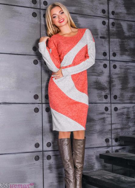 вязаное платье в бело-оранжевом цвете