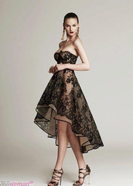 вечернее платье с асимметричной юбкой