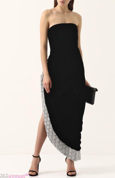 черное асимметричное вечернее платье