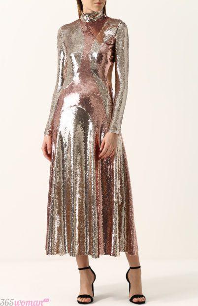 длинное вечернее платье металлического цвета