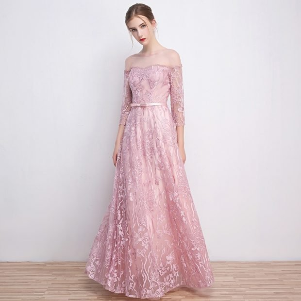 розовое длинное вечернее платье