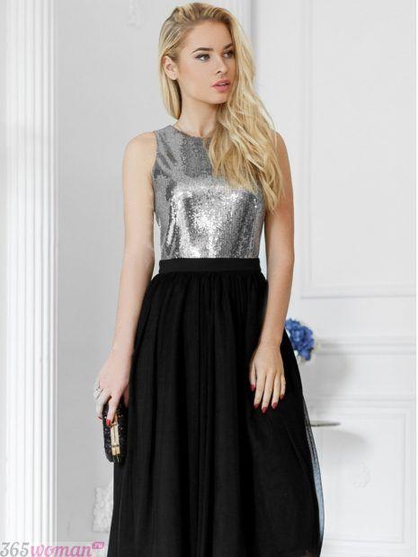 серебристо-черное вечернее платье