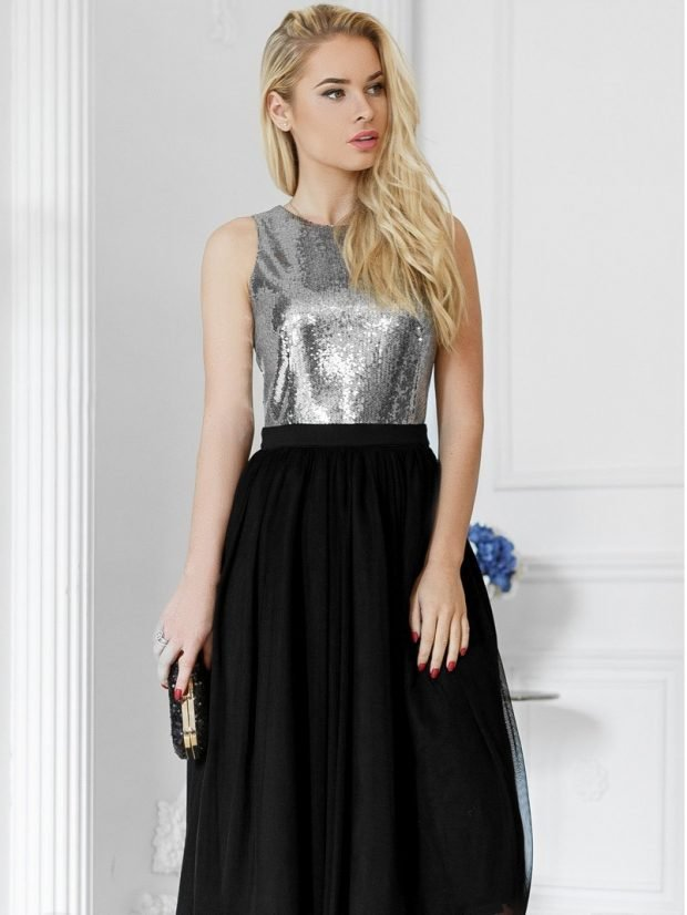 женские платья осень зима 2019 2020: серебристо-черное вечернее