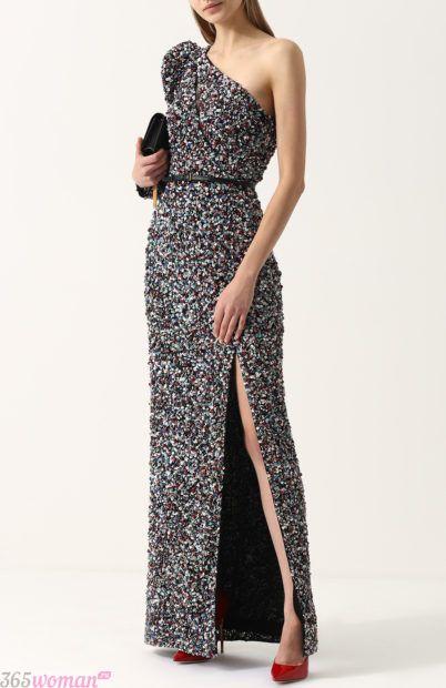 длинное вечернее платье с разрезом