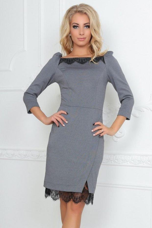 модные платья осень зима 2019 2020: серое футляр с кружевом