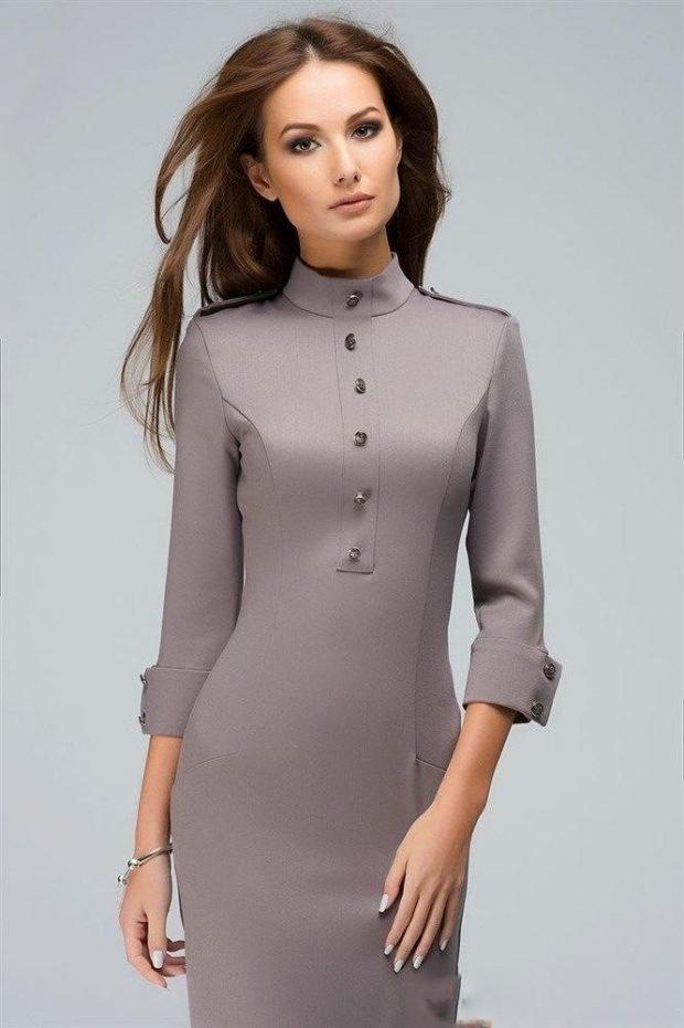 модные платья осень зима 2019 2020: серое футляр на пуговицах