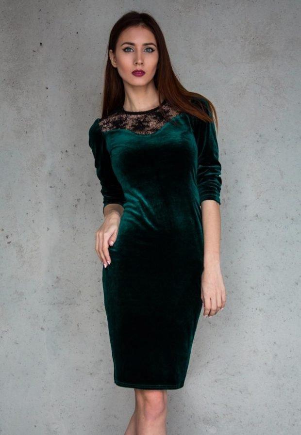 модные платья осень зима 2019 2020: зеленое велюровое футляр