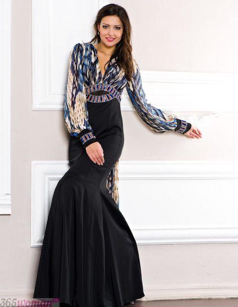 черное платье с разноцветным верхом