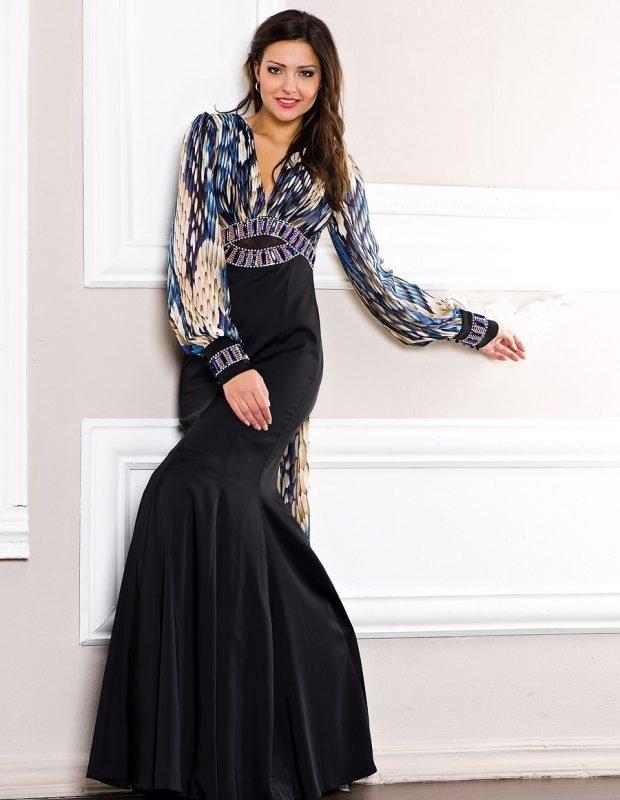 женские платья осень зима 2019 2020: черное с разноцветным верхом
