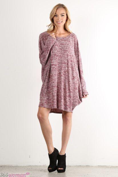 вязаное платье с удлиненными рукавами