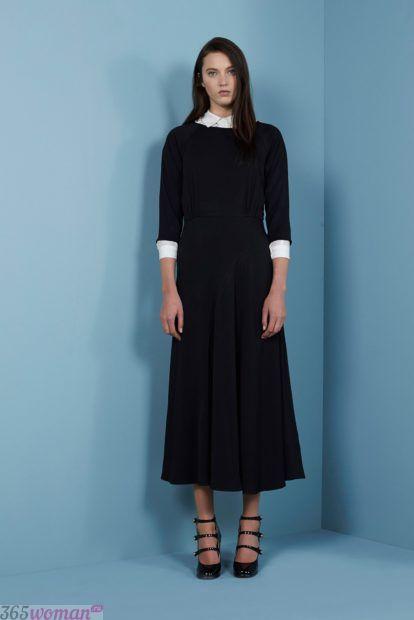 черное платье миди с белым воротником
