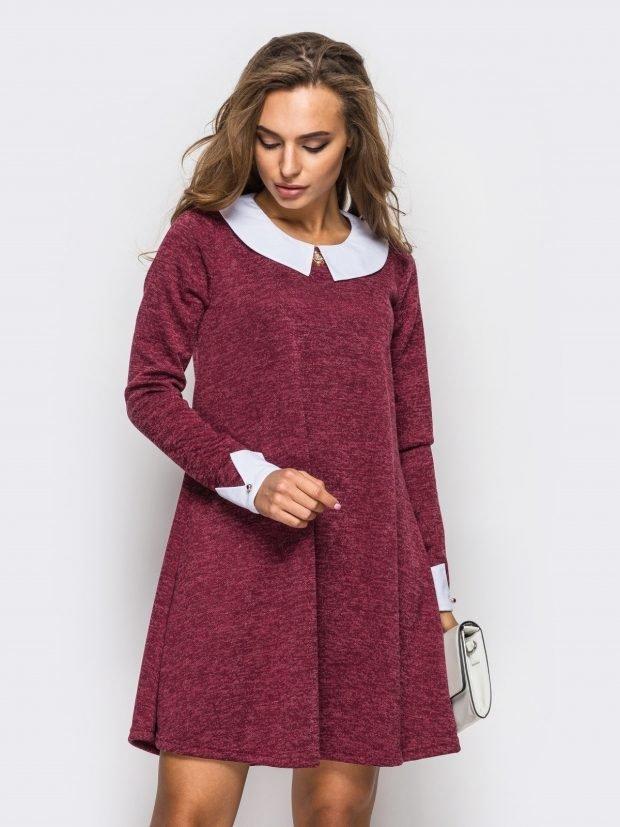 модные платья осень зима 2019 2020: цвета марсала с белым воротником