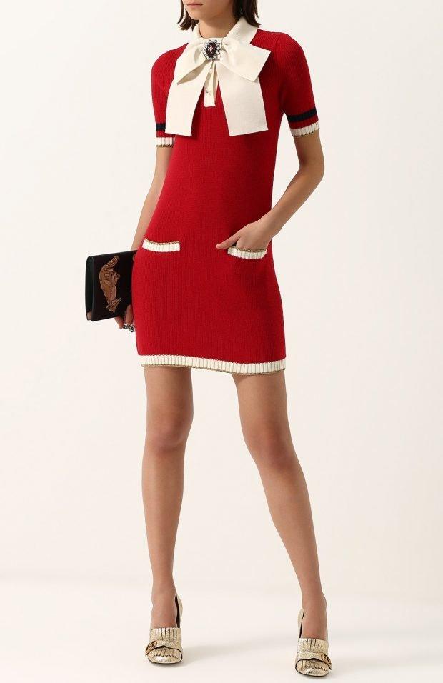модные платья осень зима 2019 2020: красное с белым воротником