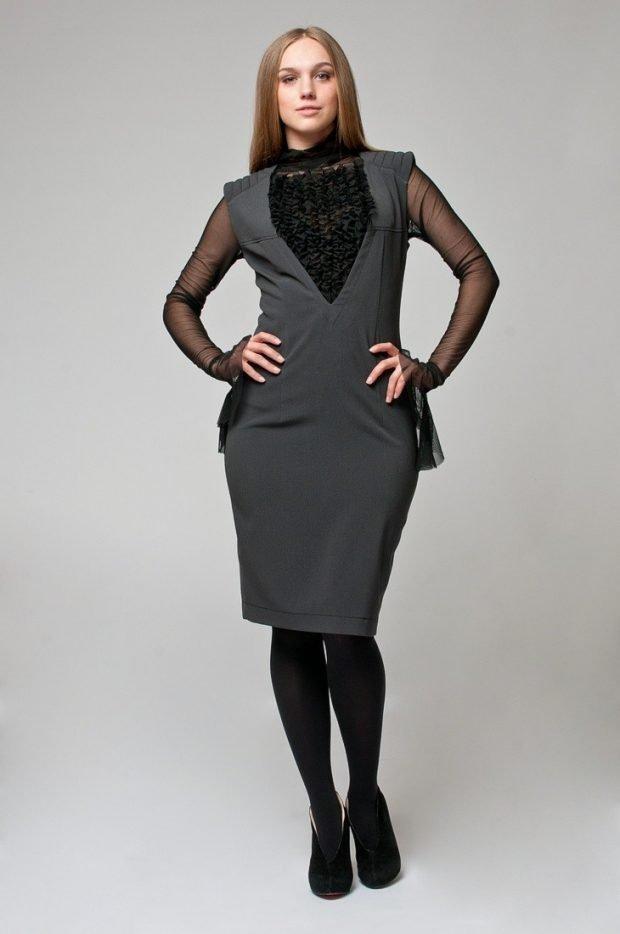 модные платья осень зима 2019 2020: серый офисный сарафан