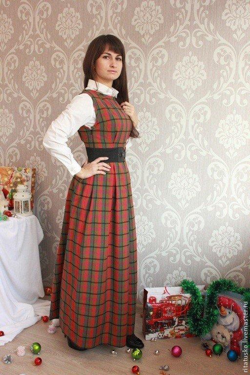 модные платья осень зима 2019 2020: длинный сарафан в клетку