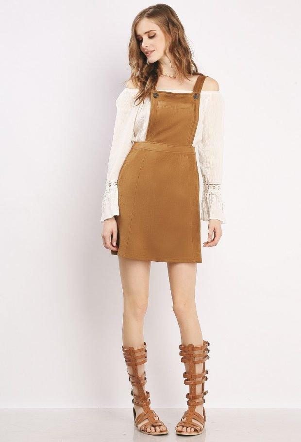 модные платья осень зима 2019 2020: коричневый короткий сарафан
