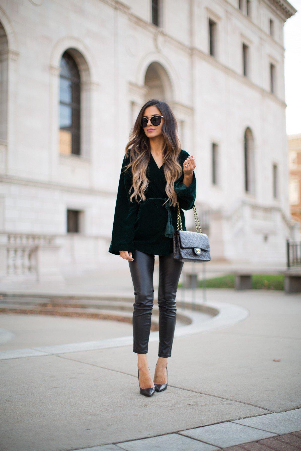 кожаные брюки и велюровый пиджак