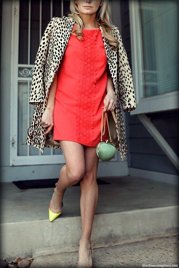 красное платье с леопардовым пальто
