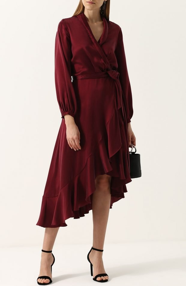 Модные сеты 2019 2020: бордовое асимметричное платье