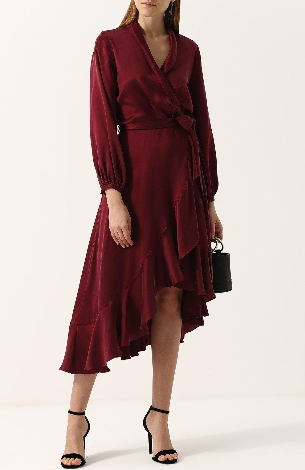 бордовое асимметричное платье