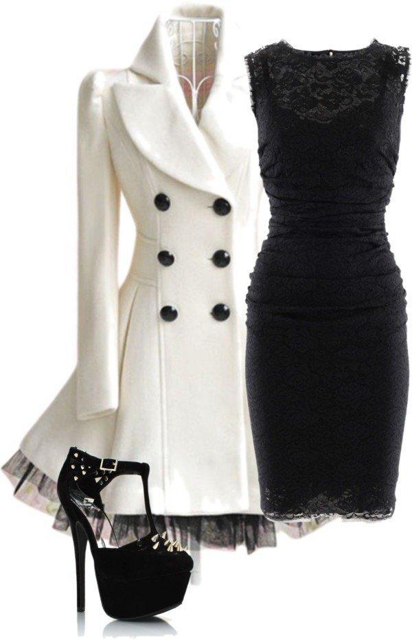 Модные сеты 2019 2020: белое пальто и черное кружевное платье