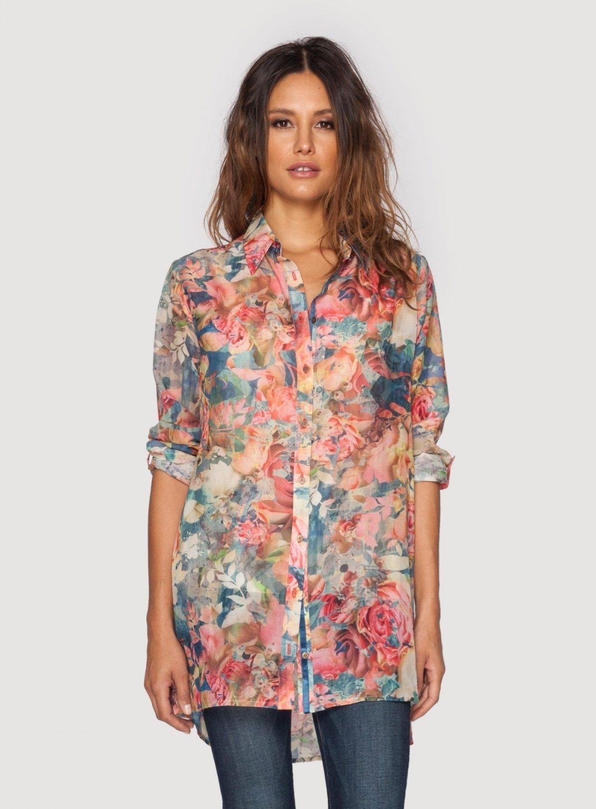 туника рубашка цветочный принт