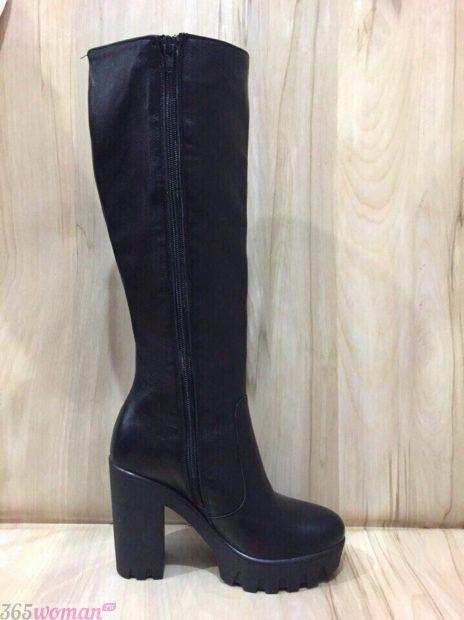 черные сапоги высокий каблук
