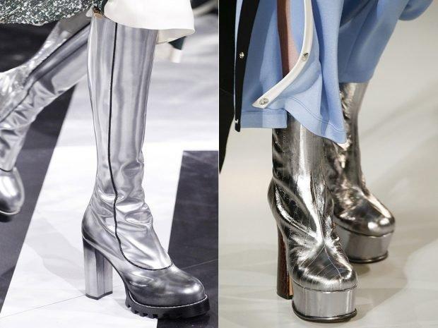 модные сапоги осень зима 2019 2020: на тракторной подошве серебряного цвета