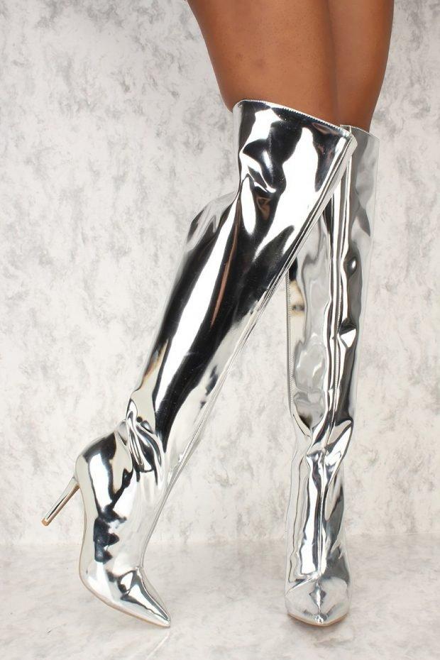 сапоги осень зима женские: на шпильке серебряного цвета