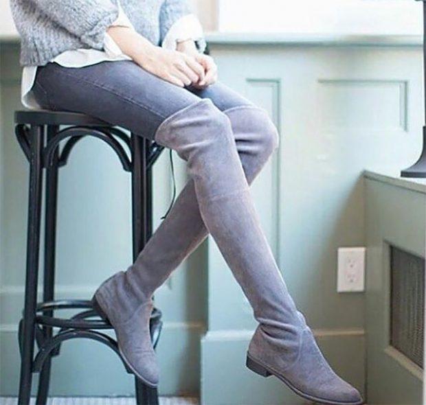 сапоги осень зима женские: замшевые ботфорты светлого цвета