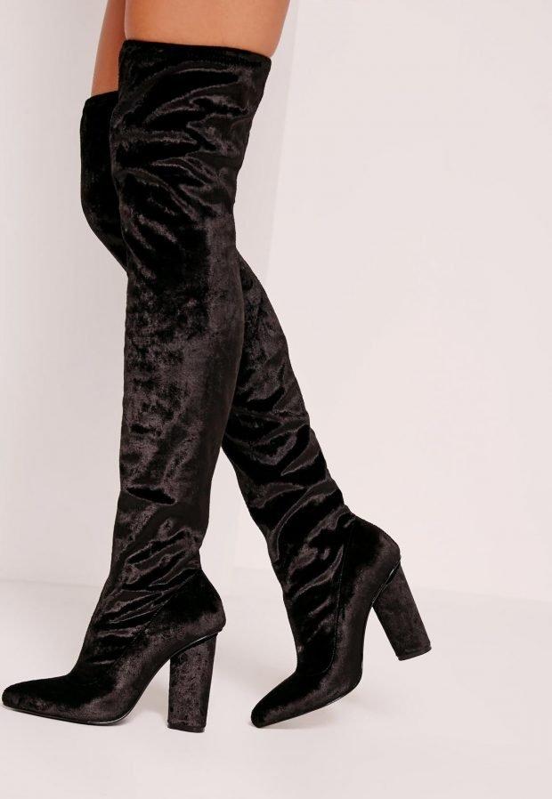 сапоги осень зима женские: черные бархатные ботфорты