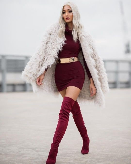 сапоги осень зима 2019 2020 фото женские: бордовые замшевые ботфорты