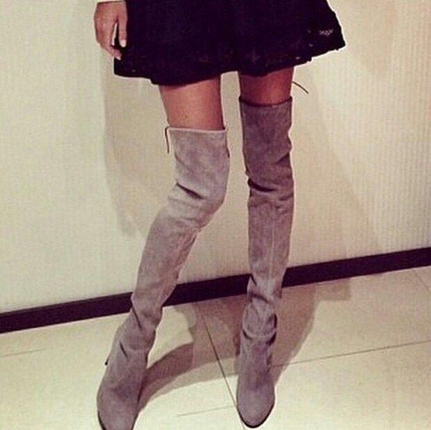 сапоги осень зима 2019 2020 фото женские: серые замшевые ботфорты