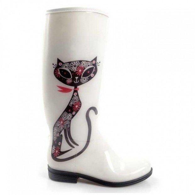 белые резиновые сапоги с принтом кошки