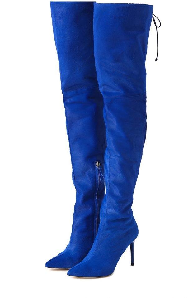 высокие синие сапоги-чулки на шпильке